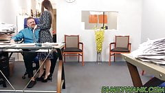 Cute petite teen Bambi Brooks rides a fat cock in the office
