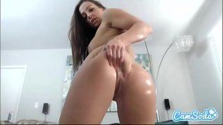 Abigail Mac big ass brunette fucking two dildos.