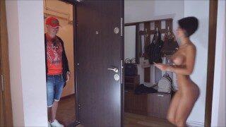 Anisyia Livejasmin naked pizza delivery boy surprise hidden camera HD4K